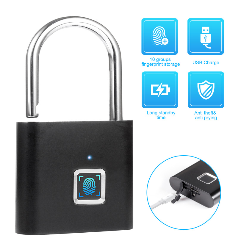 KERUI Fingerprint-Lock Suitcase Drawer Door-Padlocks Thumbprint Anti-Theft Portable  title=