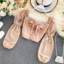 2021 primavera verão coréia moda feminina bonito curto blusa e topo casual quadrado camisa de manga comprida blusas femininas elegante h212