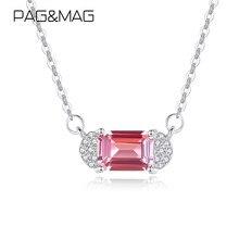 PAG & MAG-collar con colgante geométrico de topacio rosa para mujer, joyería de plata de ley 925, joyería de aniversario de boda