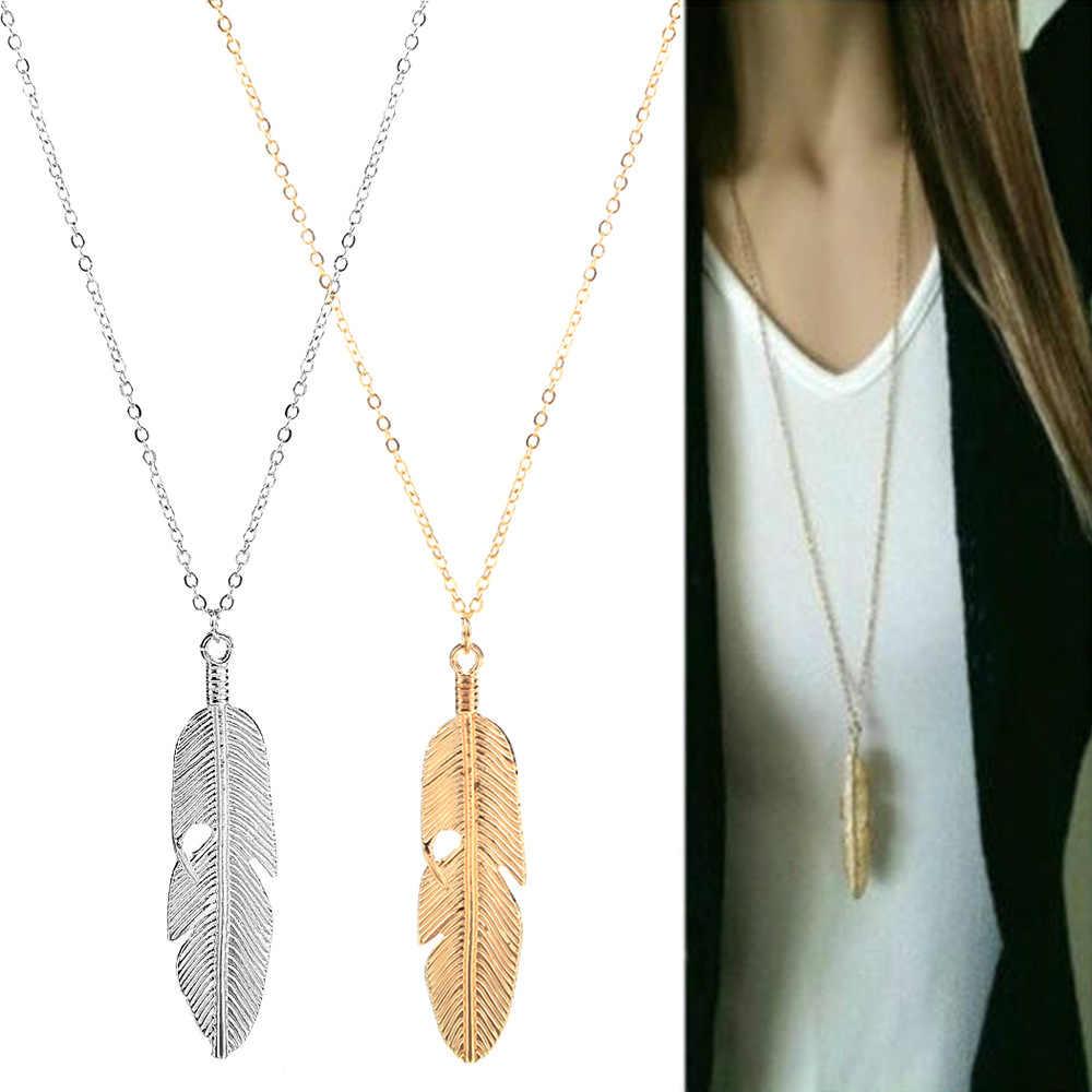 Prosty klasyczny wisiorek naszyjnik z piór naszyjnik długi łańcuch sweter komunikat biżuteria choker naszyjnik dla kobiet liść choker