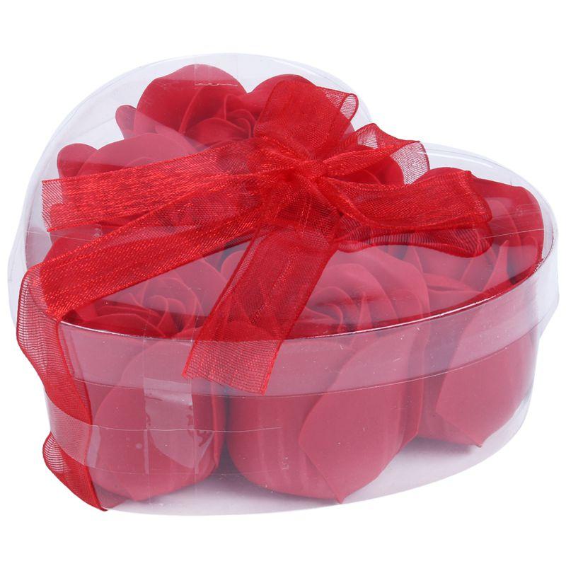 6 Pcs Red Scented Bath Soap Rose Petal In Heart Shape Box