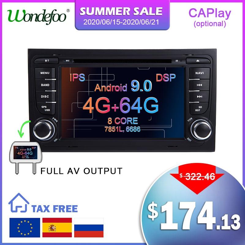 DSP IPS Android 9,0 4G 64G GPS para coche para Audi A4 B6 B7 S4 B7 B6 RS4 B7 SEAT Exeo reproductor de dvd radio IPS pantalla con WIFI BT stereo PC