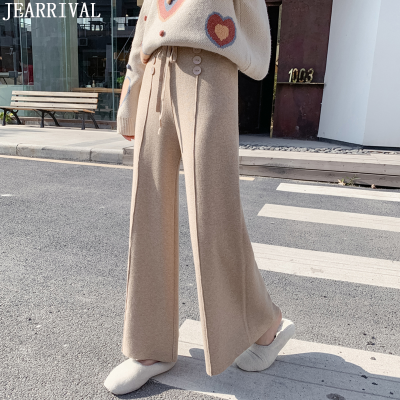 2019 Autumn Winter Flare   Pants   Women Soft Comfortable Knitted   Wide     Leg     Pants   Korean Style Female Warm Casual Loose Trousers