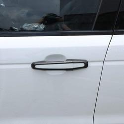 Fibra de carbono exterior maçaneta da porta do carro decoração capa guarnição 8 peças para jaguar xe/xf/f-pace para land rover range rover sport