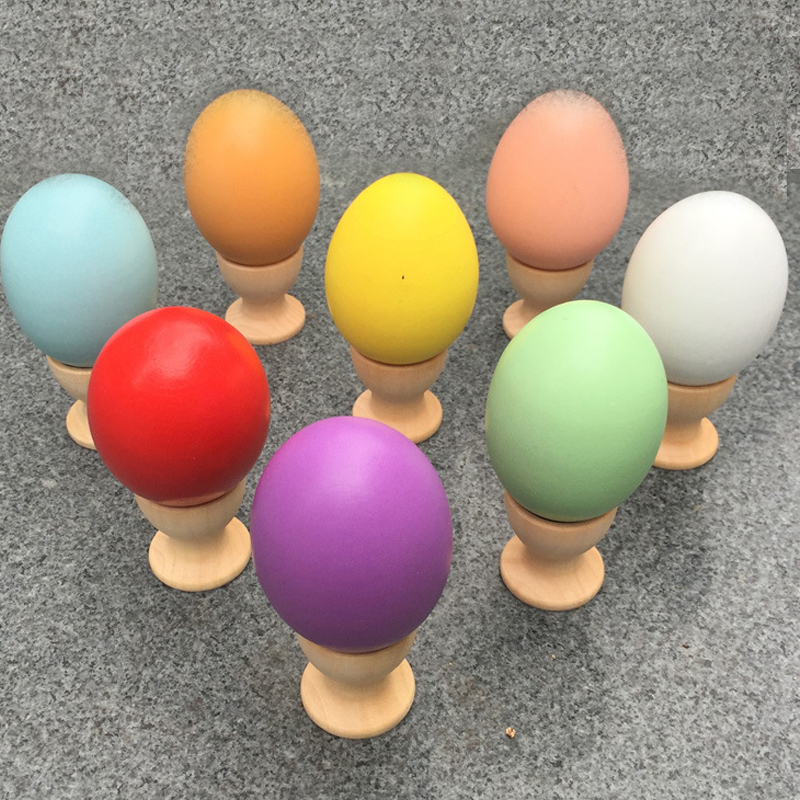 Wooden Easter Egg Stands Tray Holders Kids Pretend Play Toys Egg Tray Kitchen Decor Learning Creative Toy Gift