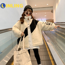 LINLING Girls Sweater Coat 2021 New Winter Clothes Korean Children Suit Thick P744