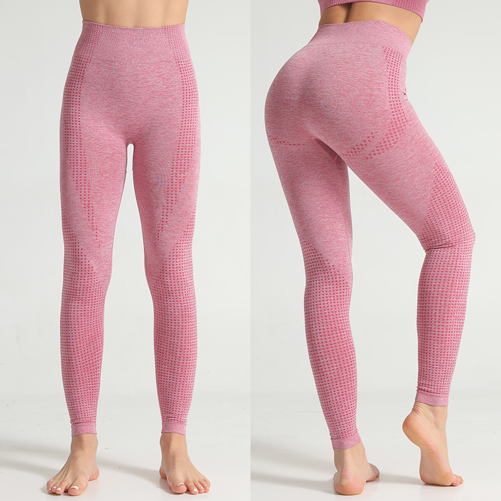 Seamless Leggings Women Fitness High Waist Tummy Control Pants Dot Pattern Workout Pull Up Skinny Trousers Femme