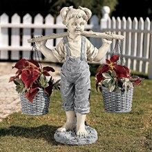 Estatuillas de resina decorativas para jardín, escultura de flores de niña pequeña para decoración de Exteriores, adorno de sobremesa