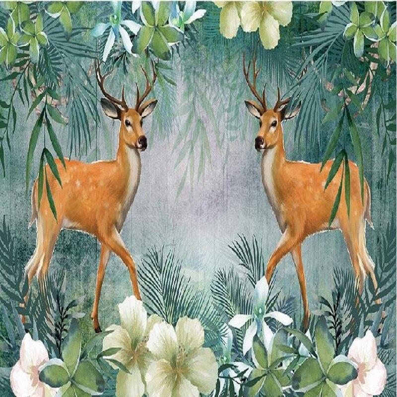 Drop Shipping Photo Wallpaper 3D Stereo Tropical Forest Deer Wallpaper Sofa TV Background Living Room Bedroom Wallpaper Mural