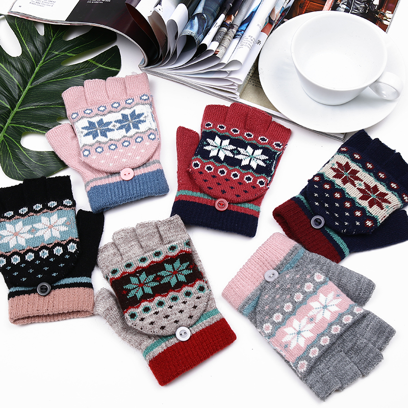 2017 NEW Fashion Winter Women Fingerless Gloves Multifunctional Cute Warm Patchwork Mittens Gift For Students Girl Friend