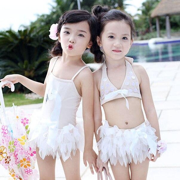 Korean-style Infants KID'S Swimwear Girls One-piece Split Type Swimwear Baby Princess Swan Ballet Cute Tour Bathing Suit