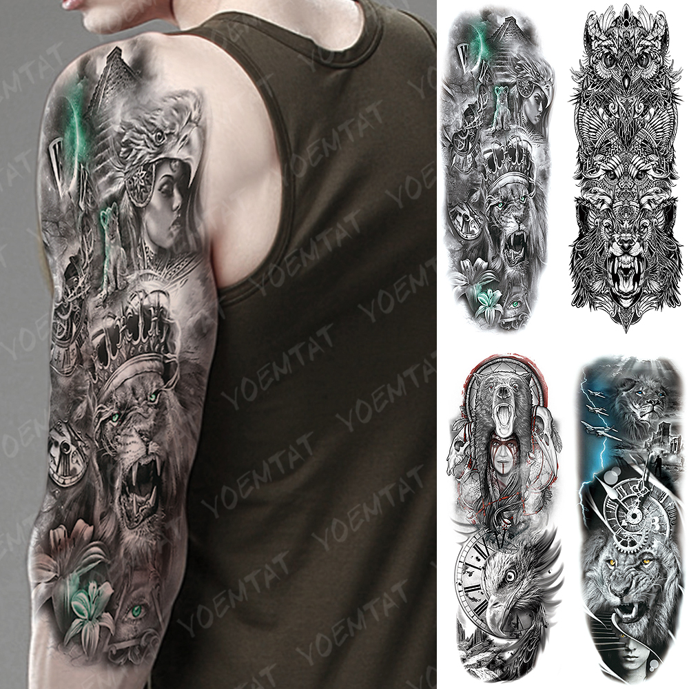 Large Arm Sleeve Tattoo King Crown Lion Totem Waterproof Temporary Tatto Sticker Hero Eagle Bear Body Art Full Fake Tatoo
