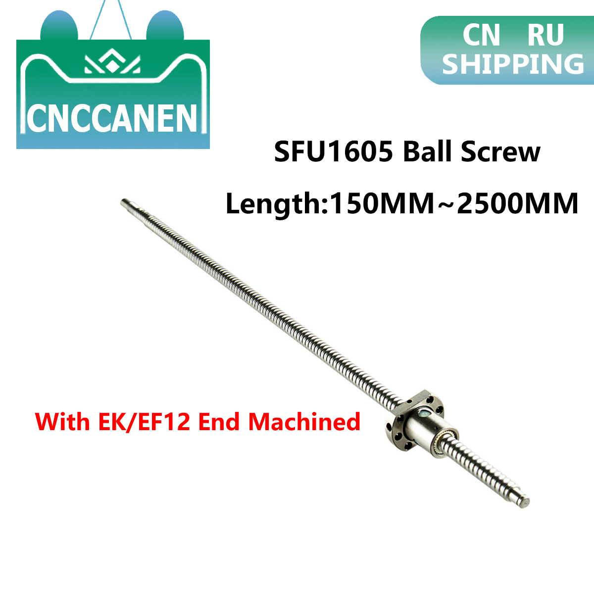 Ballscew SFU1605-150mm 200 300 500 600 800 1200 1500 2000 2500 Mm C7 Ball Screw With Single Ball Nut EK/EF12 End Machined CNC