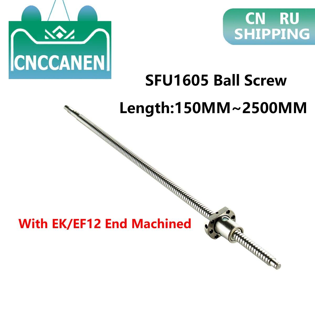 Ballscew SFU1605-150mm 200 300 500 600 800 1200 1500 2000 2500 Mm C7 Ball Screw With Single Ball Nut EK/EF12 End Machined CNC