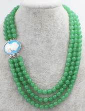 Jewelry Pearl Necklace 3rows green jade round 8mm +beautiful woman head clasp necklace 18-20inch wholesale beads Free Shipping(China)
