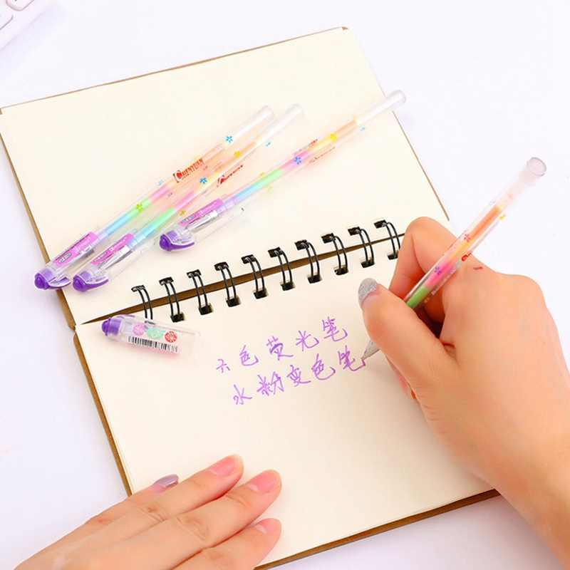1 قطعة قوس قزح اللون هلام القلم 6 في 1 اللون أقلام DIY ألبوم صور الديكور قلم تحديد القلم اللوازم المكتبية