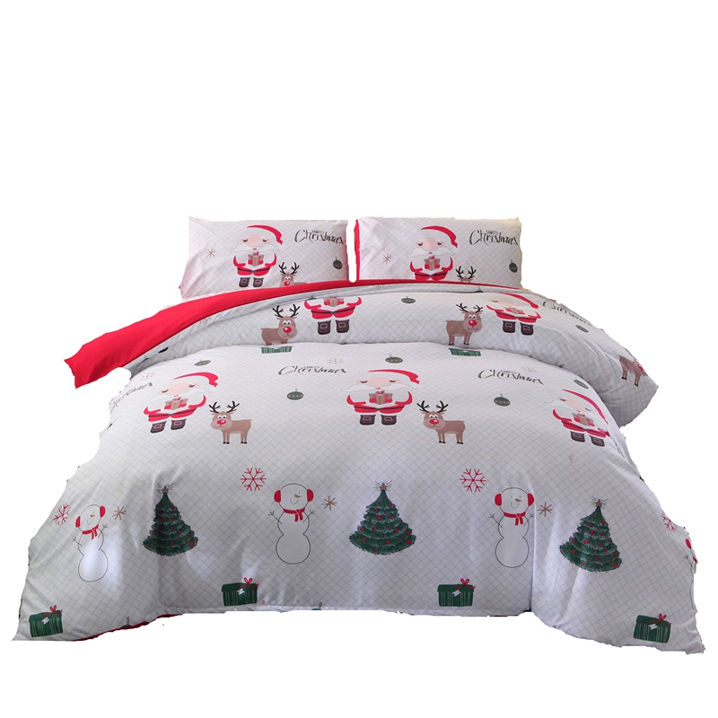 Christmas Childhood Bedding Set Of 3 Bedding Bedding, Pillowcase Bed Cover Quilt Cover Santa Pillowcase, Patterned Family Hotel