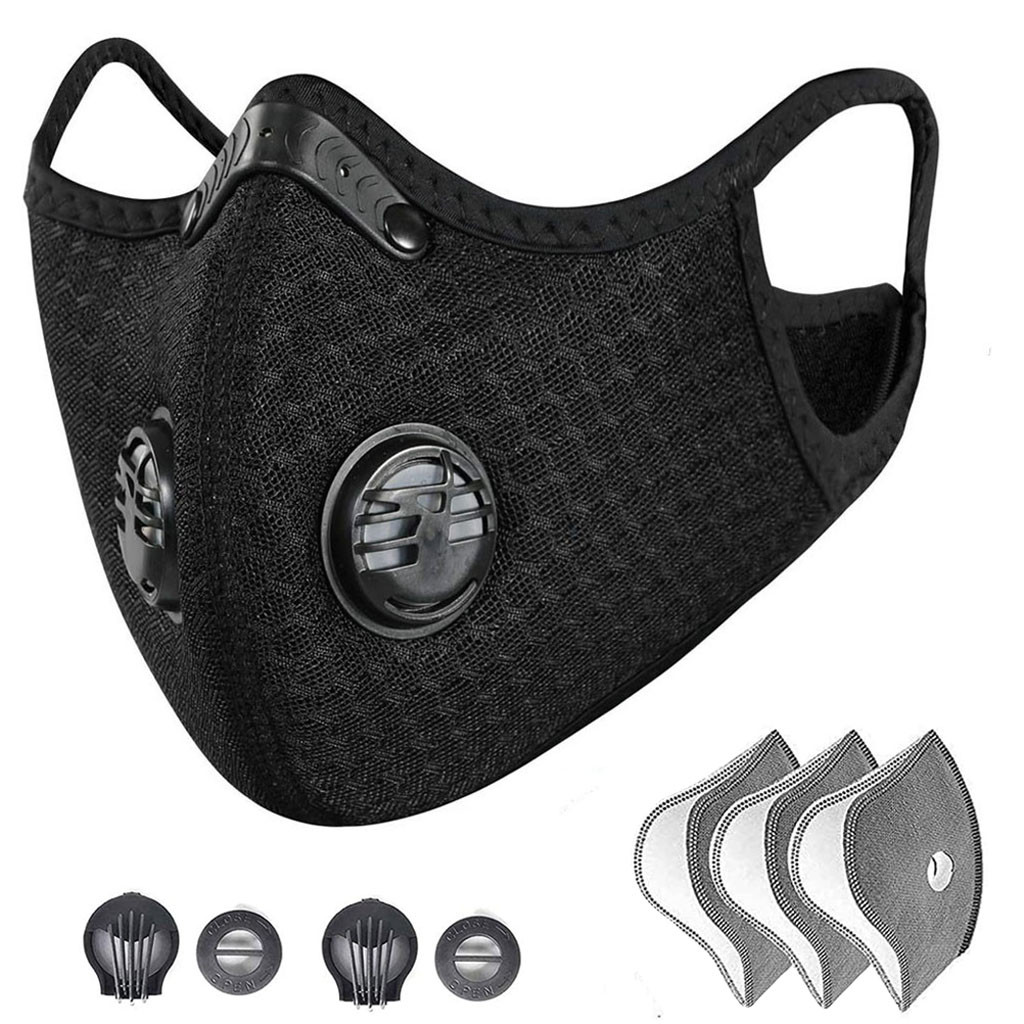 PM2.5 Filter Mouth Mask Dust Half Face Mask Reusable Respirator With Breathing Activated Carbon Filter Mouth Mask Cover Washable