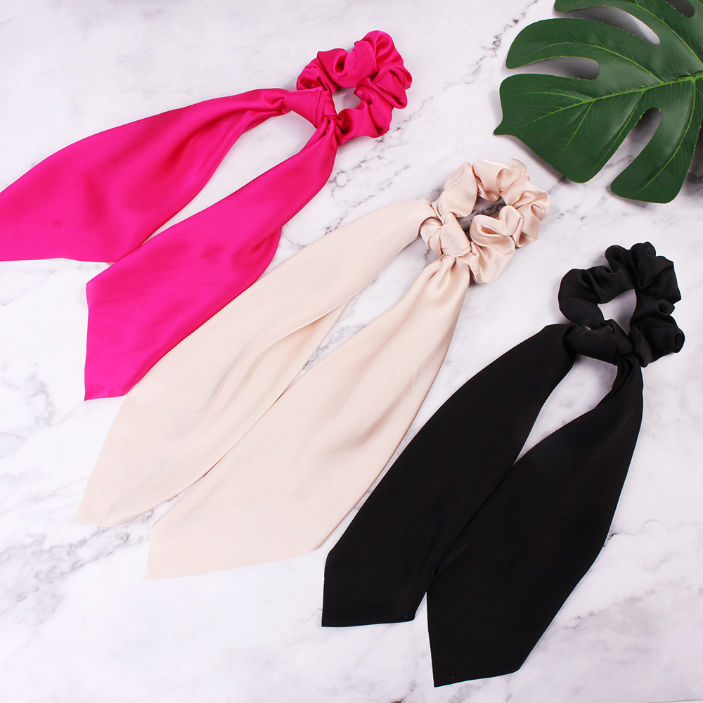 H8c8893ac2e1747e089a71e37b4ff23bev - Fashion Silk Satin Summer Ponytail Scarf Stripe Flower Print Ribbon Hairbands Hair Scrunchies Vintage Girls Hair Accessoires