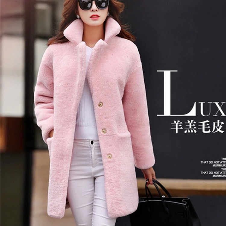 2019 special lamb fur coat female long sheep shearing jacket  one generation hair wool  windbreaker
