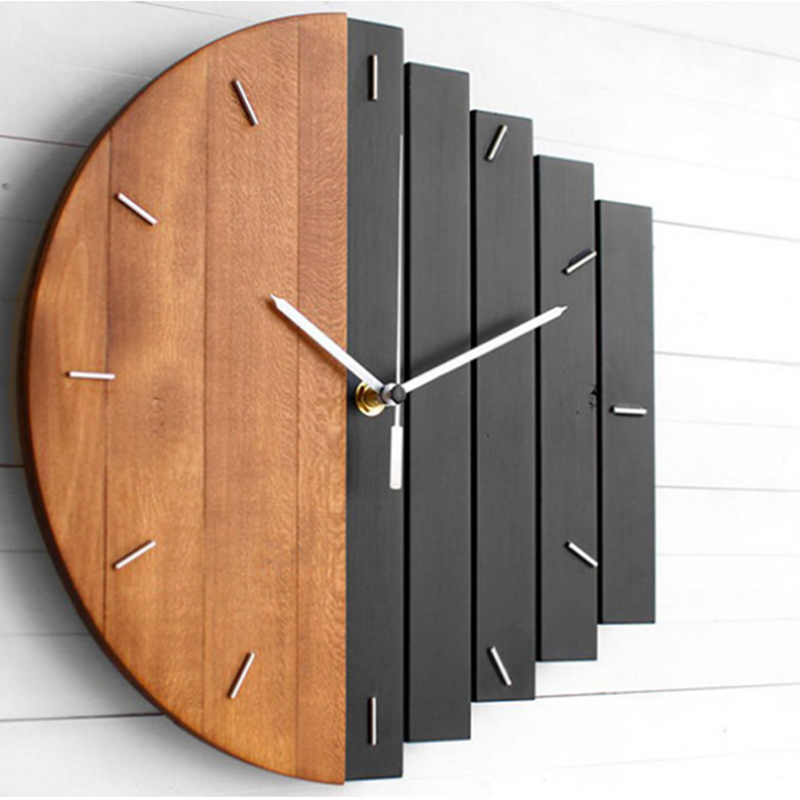 Wooden Wall Clock Modern Design Vintage Rustic Shabby Clock  Kitchen Home Brief Design Silent Home Cafe Office Wall Decor Clocks