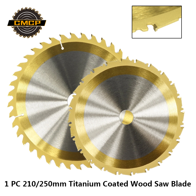 1pc 210mm/250mm TCT Saw Blade 24T/40T/80T Circular Saw Disc Titanium Cotaed Cutting Disc Carbide Saw Cutting Disc TCT Saw Blade