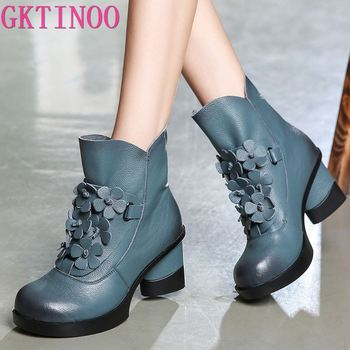GKTINOO Autumn Winter Fashion Genuine Leather Shoes Women's Boots Casual Women Thick High Heels Handmade Woman Ankle Boots showfun genuine leather shoes woman grit cowhide solid square heels boots