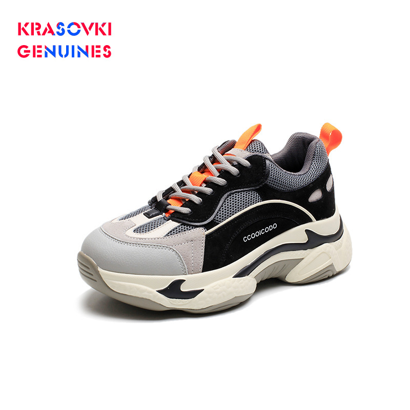Cheap Krasovki Genuines Sneakers Women Mixed Colors Breathable Autumn Dropshipping Fashion Mesh Thick Bottom Lace Leisure Women Shoes