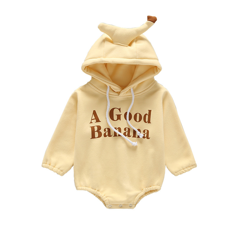 Spring And Autumn And Winter Newborn Baby Climbing Suit Cotton Long-sleeved Hooded Banana Letter A GOOD BANANA Baby Clothes