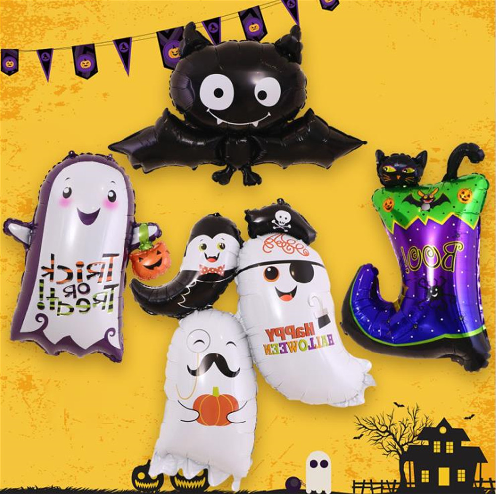 Cartoon Hat Halloween Pumpkin Ghost Balloons Halloween Decorations Spider Foil Balloons Inflatable Toys Bat  Halloween  Hat