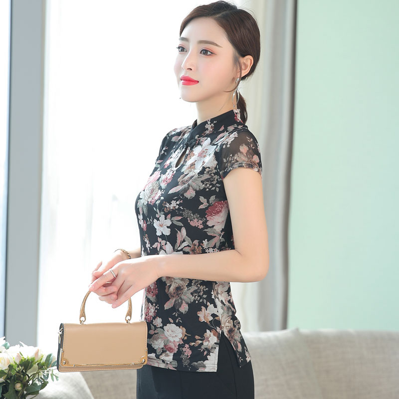 Women New Summer Spring 2019 Modified Retro-Chinese Style Short-sleeved Mesh Basic Sim Shirt Female Lady's Cheongsam Lace Tops