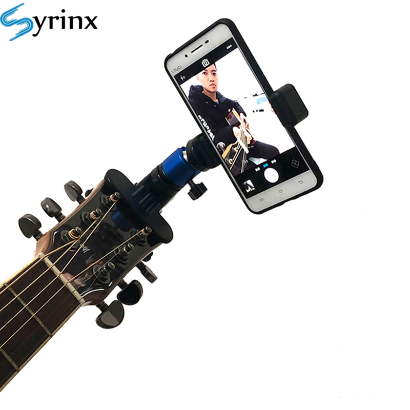 Guitar Head Clip Mobile Phone Holder Live Broadcast Bracket Stand Tripod Clip Head For IPhone 11 X Support Desktop Music Holder