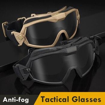 Gafas militares tácticas antiniebla, lentes protectoras de tiro de combate del ejército, a prueba de viento, para caza, motocicleta CS, 2 lentes