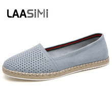 LAASIMI Spring Shallow Women Shoes Genuine Leather Slip On Flats Casual Breathable Ladies Female Loafers