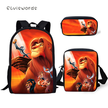 ELVISWORDS Fashion Primary Students School Backpack Set The Lion King Pattern Kids Book Bags Cartoon Design 3PC/SET Bag
