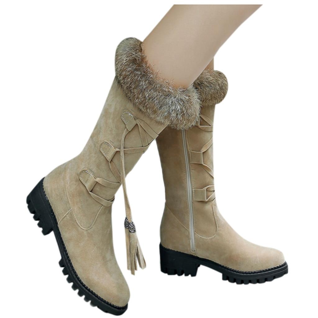 Suede Plus velvet Winter Boots Women Knee High Long Boots Fashion short plush Snow Boots Women Winter Warm Platform woman shoes 55