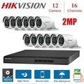 16 каналов HIKVISION английская версия DVR DS-7216HGHI-F1/N 1080P с 12 шт. 2MP 4 в 1 крытый Открытый камера ночного видения наборы