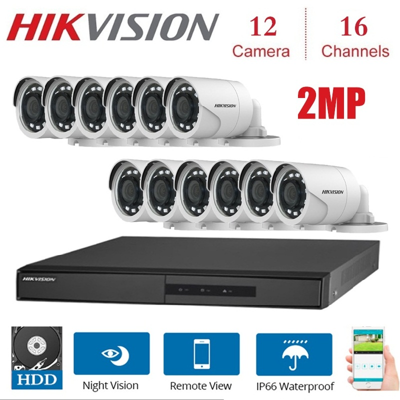 16 Channels HIKVISION English Version DVR DS 7216HGHI F1/N 1080P with 12pcs 2MP 4 in 1 indoor outdoor night vision Camera KITS|Surveillance System| |  - title=
