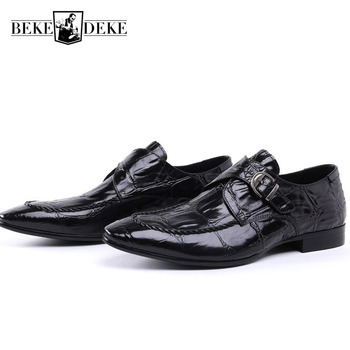 Business Man Formal Shoes High Quality Genuine Leather Office Work Mens Banquet Loafers Slip On Buckle Party Wedding Dress Shoes