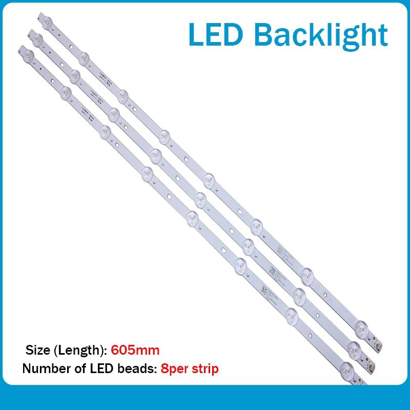 New 3pcs 8 Lamps  LED Backlight Strip 605mm  For Tv JL.D32081235-001CS-M E469119 21v Input