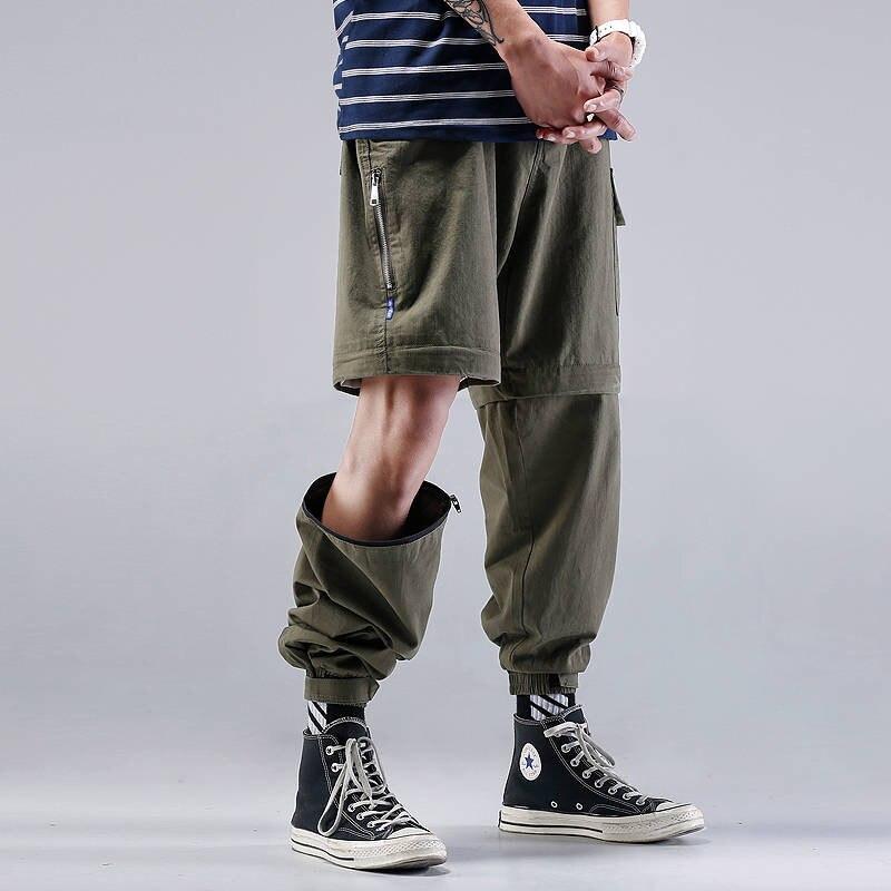 Men Joggers Hip Hop Harem Streetwear Pants Casual Trousers High Street Cargo Pants Mens Summer Men Short Japanses Pants Male