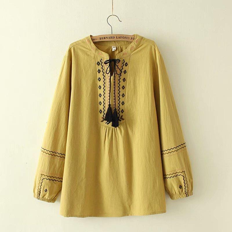 Plus size Board work Women's blouse 2019 spring NIEUWE casual ladies V neck cotton shirts women's