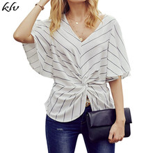 Women Short Batwing Sleeves Chiffon Tops Stripes Printed Ruched Twist Knotted Front Blouse Sexy V-Neck Empire Waist Shirts casual twist blouse