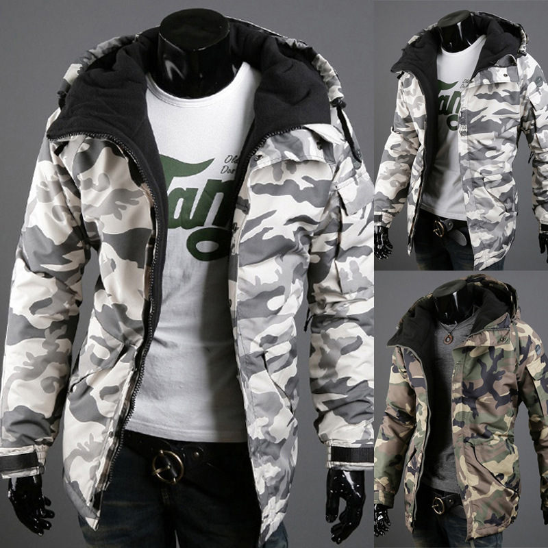 [Standard Code] European Foreign Trade England Camouflage Trend Men Hooded Large Size Jacket 5659 S-2XL