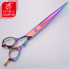 Fenice Purple 7.5 Inch Professional Pet Dog Grooming scissors Cutting Straight Shears for Dogs purple dragon 8 inch rainbow shears for dogs 360 degree rotation dog grooming goods