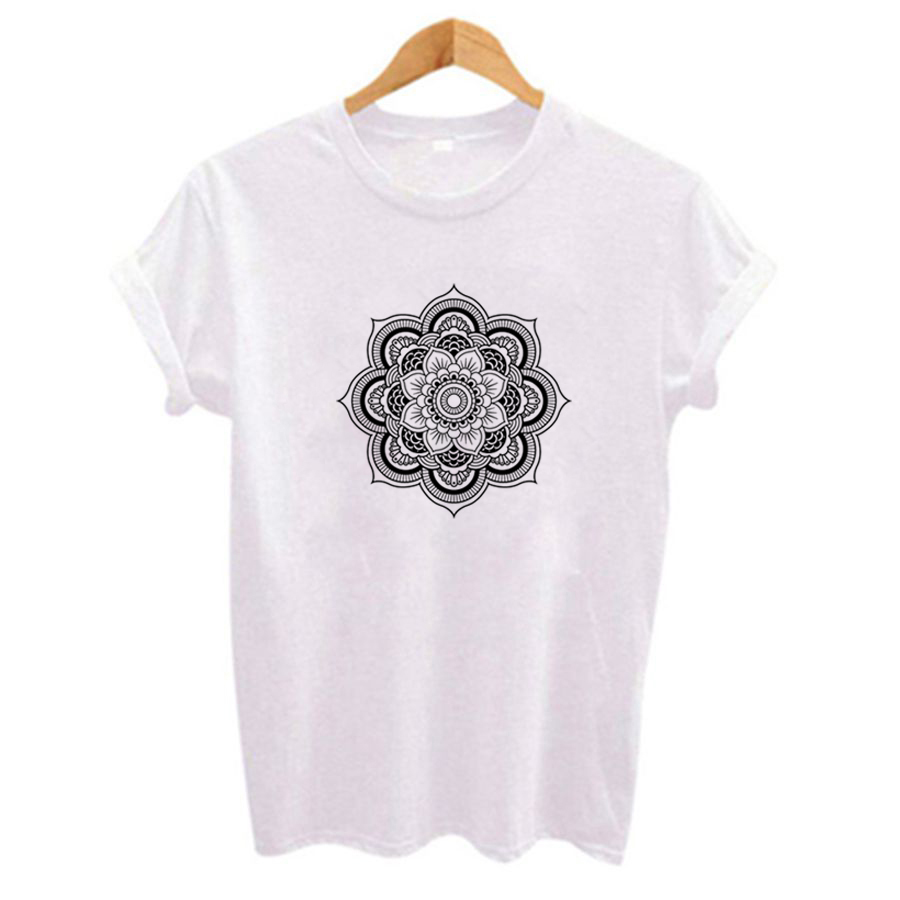 New Graphic Tees Women Polyester Flower Printing Slim Fit Tshirts Casual Summer Tees & Tops Harajuku Kawaii Tee Shirts