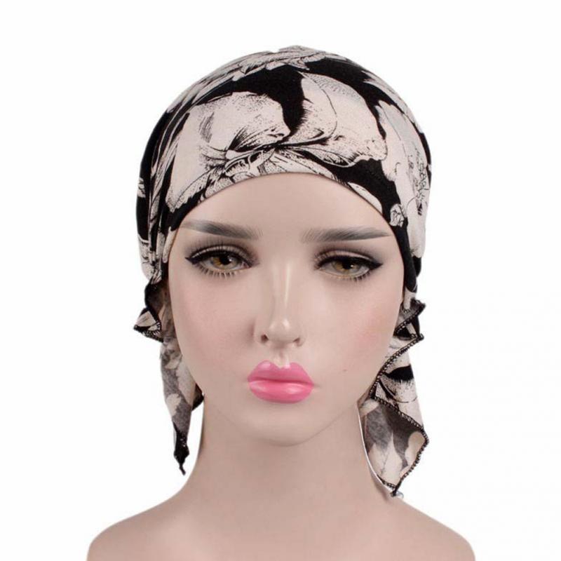 Image 2 - Printed Soft Cotton Chemo Cap Elegant Scarf Muslim Turban Adults  Women Head Wrap Fashion Elastic Cover Hat GiftWomens Hair Accessories