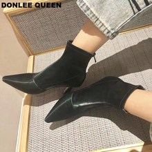 Ankle Boots Thin High Heels Autumn Shoes Women Pointed Toe Sexy Stretch Lycra Women Boots Black Green Shoes Party  zapatos mujer цена 2017