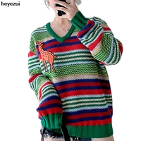 Heyezui Rainbow stripes giraffe knitting sweater woman outside wear loose tops lady clothing