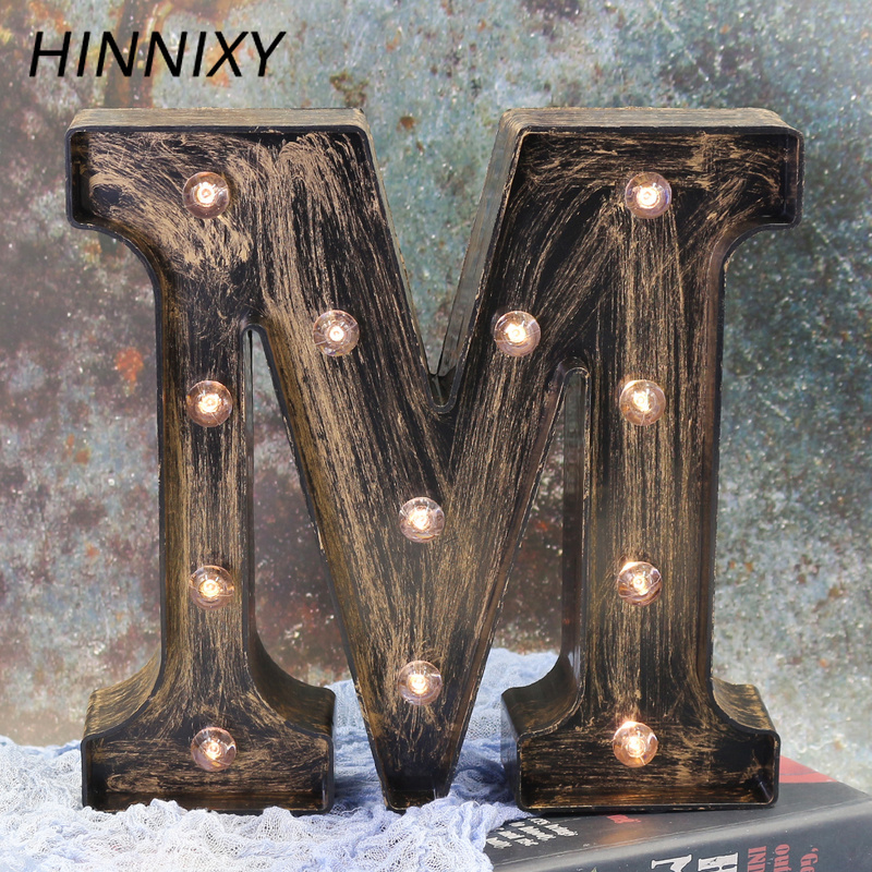 Hinnixy 26 Letters LED Retro Iron Night Light Alphabet Holiday Wedding Party Valentine's Day Gift Bar Cafe Decoration Night Lamp